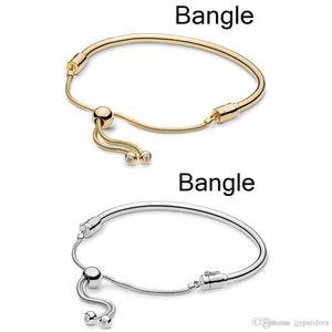 Donia 100% 925 Momentos Sterling Silver Charme deslizantes Brilho Sliding Bangle DIY jóias charme frete grátis Atacado