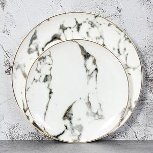 European Marble Ceramic Round Gold Inlay Bone china Plate Steak Dessert Porcelain Plates Dishes Home Kitchen Dinnerware set 2pcs 4pcs