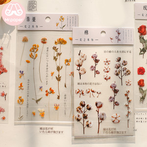Mr.Paper 12 Designs Natural Daisy Clover Japanese Words Stickers Transparent PET Material Flowers Leaves Plants Deco Stickers Sweet07