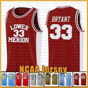 33 Bryant Aşağı Merion NCAA Basketbol Jersey College formaları sizle s-xxl kırmızı beyaz mens