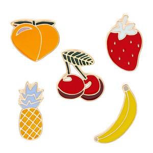 Desenhos animados do fruto Broche Banana Ananás Cereja, Morango, Pêssego Badges esmalte duro Pinos Coleção Jóias Acessório Gift Bag Jacket Brasão