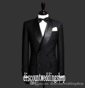 Real Photo Double Breasted Groom Tuxedos шаль Воротник Человек платье партии Пром Blazer пальто брюки Комплекты Customize (куртка + брюки + Tie) K77