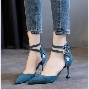 Thin Heels Women Pumps Shoes Spring and Summer Fashion Ladies Pumps Black Wild Pointed Toe Buckle Women High Heels Shoes