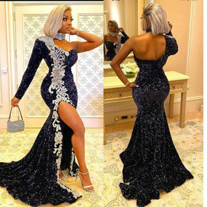 Navy Blue Mermaid Evening Dresses 2020 Sparkly High Neck One-shoulder Long Sleeve Bling Sequins Sexy Slit Prom Gowns Robe De Soiree
