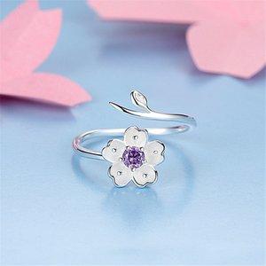 Chandler 925 Sterlingsilber-Gänseblümchen-Blumen-Niederlassungs-Verpackungs-Ring-justierbare purpurrote CZ Thumb Toe Bague für Frauen Love Promise Luxus