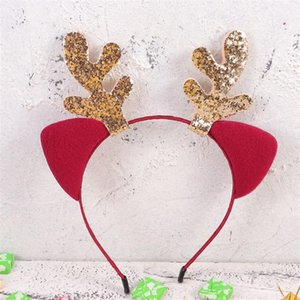Christmas Headband Decorative Headdress Adorable Elk Antlers Hair Bands Claret Cat Ears Hair Hoops Party Favors Supplies