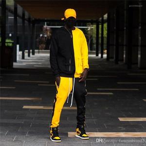 Hop Survêtements Contraste Couleur lambrissé manches longues pour hommes 2Pcs Règle Street Style Hommes Vêtements pour hommes Designer Hip