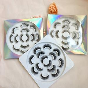 7쌍은 5D 가짜 밍크 속눈썹 사용자 정의 홀로그램은 자연 긴 두꺼운 속눈썹 꽃 트레이 포장