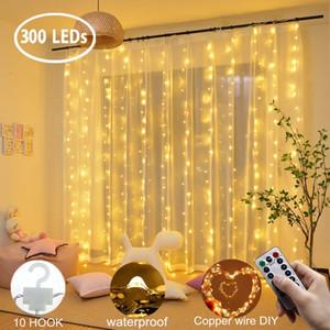 Curtain Light String 300 LED Flash Star String USB Remote Control Bedroom Decorative Curtain Light