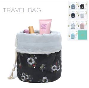Coreano elegante grande capacità a forma di botte Nylon Lavata Organizzatore Viaggi Dresser sacchetto di trucco cosmetico di immagazzinaggio del sacchetto per le donne YP154