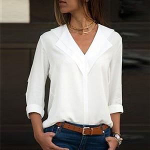 Chemisier blanc à manches longues en mousseline de soie Chemisier Double femmes col V Tops et Blouses solides de bureau Shirt Lady Chemisier Chemise Blusas Camisa