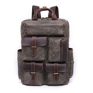 Mumlu Tuval ve Deri Erkek Rahat Sırt Çantası Bağbozumu Seyahat Sırt Çantası Yürüyüş Kamp Sırt Çantası Anti-hırsızlık 14-inch Laptop Çantası