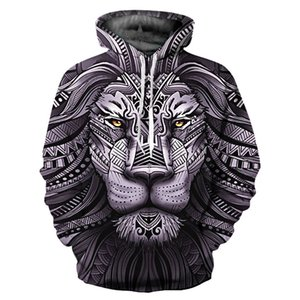 New Plus Size Fashion CP Personality Lose Pullover Black Lion 3D Digital Owl Print Causal Sweatshirt Long Sleeve Winter Hoodies