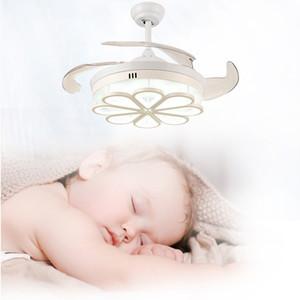 42 '' Fan de teto LED LED Integração de três cores com ajuste de velocidade de controle remoto ABS Invisible Blade
