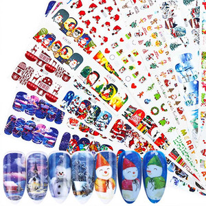 12pc / set Christmas Style Nail Sticker Scorpman Full Wraps Water Transfer Decals Winter Nail Sliders for Manicure Tip