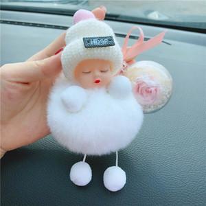 Sleeping Baby Doll portachiavi con Rosa Fiore Pompon sfera Portachiavi Borsa pendente Hanging regalo di giorno di San Valentino HHA1167