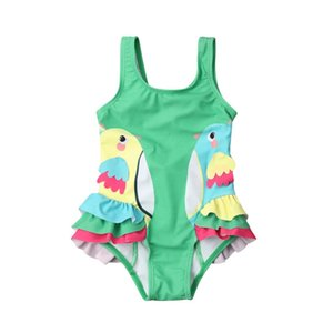 2020 Baby Girl Swimwear Cartoon Birds Bikini Set One piece Strappy Ruffled Swimming Swimsuit Costume Bathing Suit