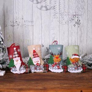 Regalo della caramella calza di Natale Plaid del pupazzo di neve della bambola del fumetto stampato calzini di Natale Medium Size Calze Borsa di natale decorazioni WY153Q