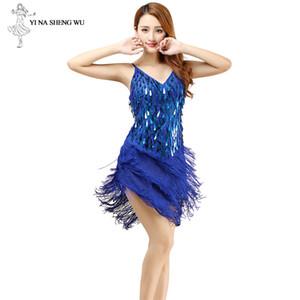 Trajes de América vestido Sexy Dance Dance Women Fringe nuevo de la manera sin mangas con lentejuelas vestido del funcionamiento de la ropa barata