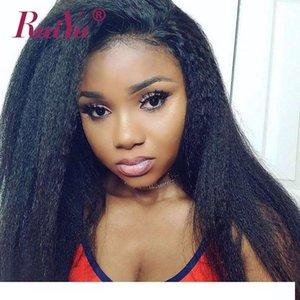 A Kinky Hetero 360 perucas completas do laço com bebê Lace cabelo Glueless Cabelo Pré cabelo arrancado Remy Yaki Humano Frente Perucas para a mulher preta