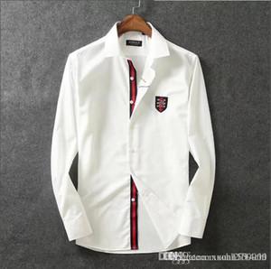 Saf pamuk merserize pamuk yaka gömlek erkek uzun kollu ince Kore moda yakışıklı erkek gömlek iş rahat