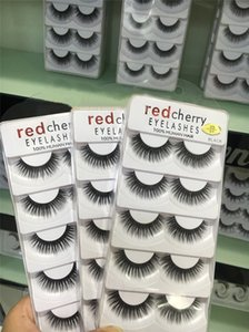 De alta calidad Red Cherry Lashes 5 pares / porción 10 estilos larga natural hecha a mano profesional de grosor de las pestañas naturales 3D