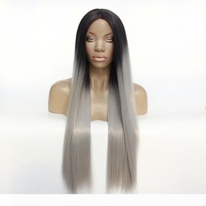 Glueless Synthetic Lace Front Wig Ombre Grey Wig Long Silky Straight Hair with Natural Hairline Fiber Hair Lace Front Women Wig