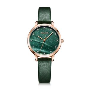 Julius Assista verde Mulheres Couro caso Elegante Moda Quartz Relógio de pulso Rosegold Aço Inoxidável Voltar JA-1178