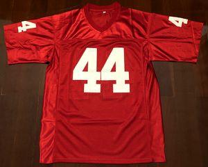 Retro Forrest Gump # 44 Tom Hanks Sinema Erkekler Futbol Jersey Dikişli Kırmızı S-3XL Yüksek Kalite Ücretsiz Kargo