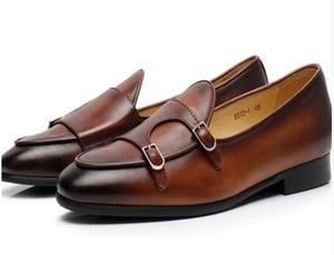 2019 Mocassini slip-on vintage da uomo Italy Street Smoking Shoes Buckle Monk Flats EU39-EU46 Men Wedding Shoes