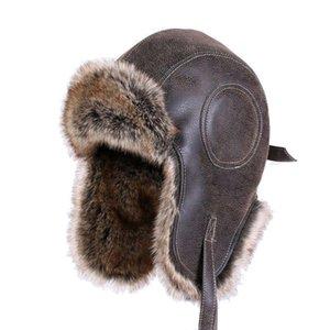 Bomber Chapeaux Faux cuir fourrure hommes hiver chaud en peluche Earflap russe Ushanka femmes Chapka Aviator Trooper neige Ski Caps Y200110
