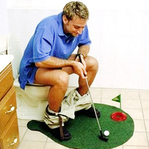 Funny Toilet Bathroom Golf Time Mini Game Play Putter Novelty Gag Gift Mat Set W15