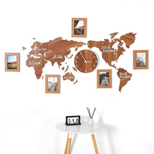 Hölzerne Weltkarte Home Decor Wohnzimmer Wanduhren kreative 3D World Map Decorative Design Stummer Uhr Wandaufkleber