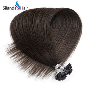 Dark Brown #2 Straight Remy Hair Extensions Nail Tip U Tip Keratin Hot Fusion Hair Extensions 50 strands pack Free Shipping