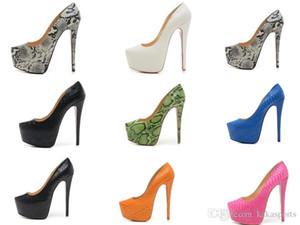 16cm talons hauts mode nouvelle plate-forme de la nuit des femmes talons hauts pompes, dames de conception de robe de mariée mariage chaussures en cuir noir Sandale Toe Sandal