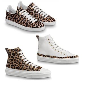 Frauen Dame Mädchen Gummi-Laufsohle Kalbsleder hallo-Top-Leoparddruckblumenbeete flach Stellar Frontrow Sneaker Stiefel Sportschuhe
