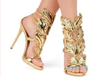 2020 Designer foglia di metallo delle donne Ala tacco alto sandali partito dell'oro nero nudo eventi Pattini gladiatore dei metalli Winged Sandals AL30