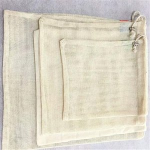 3pcs Set Reusable Cotton Mesh Grocery Shopping Produce Bags Vegetable Fruit Fresh Bags Hand Totes Home Storage Pouch Drawstring Bag