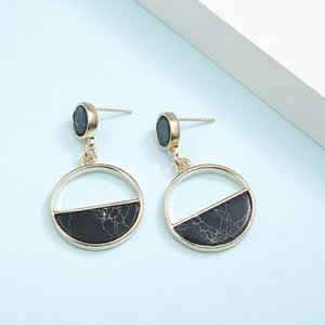 CARTER LISA Hot Selling Fashion Round Drop Earrings For Women Marble Color Stone Metal Ear Jewelry Statement Brinco pendientes