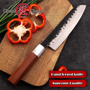 Grandsharp Santoku Knife 7-дюймовый кухонные ножи ручной работы Японские кухонные ножи Высокоуглеродистая сталь Шеф-повар нарезки кулинарные инструменты с подарочной коробке