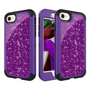 Hybrid Bling Glitter Shinning Fall Fashion Gradient 3 In 1 Stoßfest Rückseite für iPhone X 8 7 Plus Samsung S9