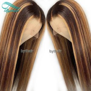 Bythair Resalte frente del cordón del color pelucas para mujeres Negro sedoso Pre desplumados natural de la rayita del pelo humano peluca llena del cordón con el bebé Pelos
