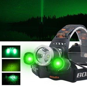 2000LM 3LED T6 XPE Scheinwerfer Grünes Licht Außen Scheinwerfer Wasserdichte USB-Kopf-Lampen-Taschenlampen-Laterne für die Jagd
