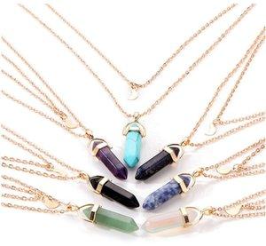 Doğal Taş Kolye Kristal Kolye Çok Katmanlı Zincirler Ay Altıgen Prizmalar Kolye Kolye Kadınlar için Boyunbağı 7 Renkler