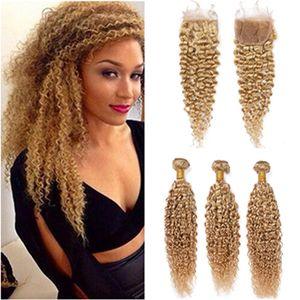# 27 Honey Blonde кудрявый завитые Human 3Bundles волос с Closure Светло-коричневый Бразильский завитые человеческих волос Weave утками с кружевом Закрытие 4x4