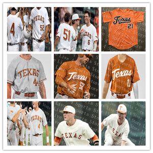 Personalizado Texas Longhorns College Camisolas De Beisebol Branco Laranja Creme Cinza 2 Kody Clemens 1 David Hamilton NCAA Camisa Costurada S-4XL