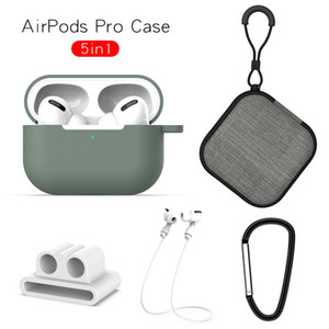 5в1 Набор силиконовый чехол для AirPods Pro 3 Случаи беспроводной Bluetooth наушники Box Защитный ремешок Крючки Rope Cap для Airpod
