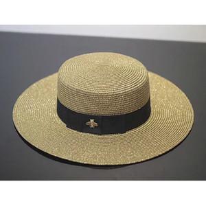 레트로 여사 바이저 봄 여름 황금 짠된 밀 짚 모자 패션 작은 꿀벌 느슨한 썬 스크린 여행 플랫 모자