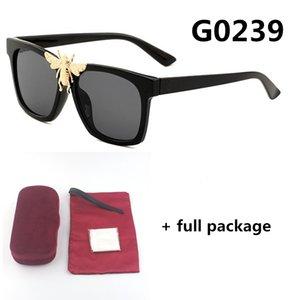Kırmızı kutu ücretsiz kargo ile Yeni 0239 moda büyük arının güneş gözlüğü tasarımcı kare gözlük gözlük 6 renk