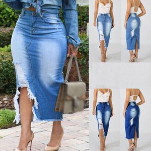 Printed Slim Hole Hip Skirts Fashion Plus Size Females Clothing Summer Womens Designer Skirts Solid Color